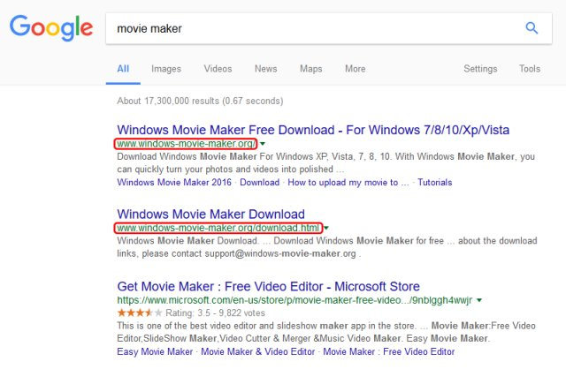 windows-movie-maker-scam-serp